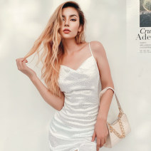 Dress Autumn 2020 white S,M,L longuette singleton  Sleeveless street One word collar High waist Solid color Socket Irregular skirt routine camisole 18-24 years old Type H dulzura backless 91% (inclusive) - 95% (inclusive) Silk and satin polyester fiber Europe and America