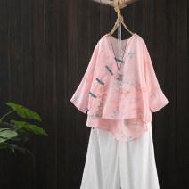 T-shirt Decor 1, decor 2, decor 3, decor 4 Average size Summer 2021 Short sleeve V-neck easy Regular routine commute hemp 96% and above Retro Zeeoiy / alternative KK002—41168