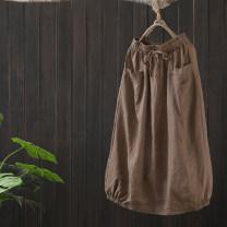 skirt Spring 2021 Average size Mid length dress Versatile Natural waist A-line skirt Solid color Type A More than 95% Zeeoiy / alternative hemp