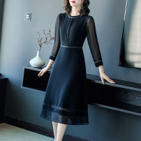Dress Spring 2021 Black black- 4XL S M L XL 2XL 3XL Mid length dress singleton  Long sleeves commute Crew neck middle-waisted Solid color Socket A-line skirt routine Others 40-49 years old Type A Yi meichu lady Stitching zipper More than 95% other other Other 100% Pure e-commerce (online only)