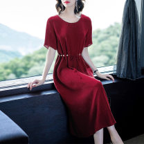 Dress Summer of 2019 Gong tinghong M L XL XXL 3XL Mid length dress singleton  Short sleeve commute Crew neck High waist Solid color Socket Princess Dress routine Others 30-34 years old Type X Yi meichu Retro Fold frenum YQ-1001 More than 95% other other Other 100% Pure e-commerce (online only)