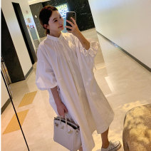 Dress Summer 2020 white S M L XL Mid length dress singleton  three quarter sleeve commute Crew neck Loose waist Solid color Single breasted A-line skirt bishop sleeve Others 25-29 years old Type A Art in love with Su Korean version 51% (inclusive) - 70% (inclusive) cotton Cotton 70% polyester 30%