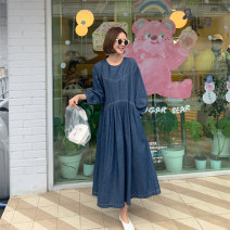 Dress Spring 2021 Denim blue S M L XL longuette singleton  Long sleeves commute Crew neck High waist Solid color Socket A-line skirt routine Others 25-29 years old Type A Art in love with Su Korean version pocket More than 95% Denim cotton Cotton 100% Pure e-commerce (online only)