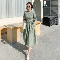 Dress Spring 2021 Green Beige S M L XL Mid length dress singleton  Long sleeves commute Crew neck High waist Solid color Socket A-line skirt routine 25-29 years old Type A Pashto Korean version Stitched zipper drawcord SYQ853 More than 95% cotton Cotton 100% Pure e-commerce (online only)
