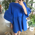 Dress Spring of 2019 blue S M L XL Mid length dress singleton  three quarter sleeve commute Crew neck High waist Solid color Socket A-line skirt pagoda sleeve Others 18-24 years old Type A Pashto Korean version Ruffle stitching 51% (inclusive) - 70% (inclusive) cotton Cotton 70% polyester 30%