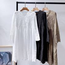 Dress Autumn of 2019 White, black, khaki Average size, 100-140 Jin recommended Long sleeves V-neck High waist Solid color A-line skirt routine More than 95% cotton