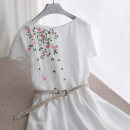 Dress Summer 2020 Picture color S,M,L Mid length dress singleton  Short sleeve commute Crew neck middle-waisted Solid color zipper A-line skirt other Type A gy-9600 71% (inclusive) - 80% (inclusive) brocade cotton