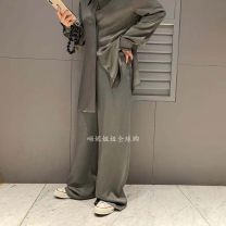 Casual pants Army green, navy blue S, M Summer 2021 trousers High waist commute routine 25-29 years old A041619AH07 polyester fiber Korean version zipper polyester fiber Asymmetry