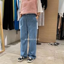 Jeans Winter 2020 blue Average size trousers Natural waist Straight pants routine 25-29 years old light colour A032911AH09