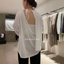 T-shirt White, blue, gray, black Average size Summer 2021 Long sleeves Crew neck easy Regular routine commute cotton 96% and above 18-24 years old Korean version youth Solid color, letter A040129AW