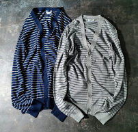 T-shirt / sweater Others Fashion City Gray, blue S,M,L,2XL routine Cardigan V-neck Long sleeves spring Straight cylinder 2021 Cotton 100% leisure time British College youth routine stripe washing Fine wool (16 and 14 stitches) Pure cotton (95% above)