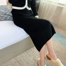 skirt Autumn 2020 Short, medium, long Black, ginger, brown, khaki, gray, apricot longuette commute High waist skirt Solid color Type H 25-29 years old XY-2020825 More than 95% knitting other Split Retro 81g / m ^ 2 (including) - 100g / m ^ 2 (including)