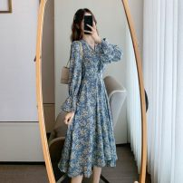 Dress Spring 2021 blue S,M,L Mid length dress singleton  Long sleeves commute V-neck High waist Broken flowers Socket Big swing pagoda sleeve Others 25-29 years old Type A Korean version Lace up, stitching 81% (inclusive) - 90% (inclusive) Chiffon polyester fiber