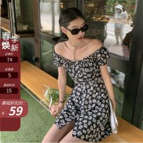 Dress Summer 2021 Flowers in stock S,M,L Short skirt singleton  Short sleeve street One word collar High waist Decor Single breasted A-line skirt routine Others 18-24 years old Type A Other / other bow 51% (inclusive) - 70% (inclusive) other