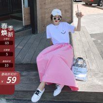 skirt Summer 2021 S,M,L Pink Mid length dress commute High waist Umbrella skirt Solid color Type A 18-24 years old 51% (inclusive) - 70% (inclusive) other Other / other other Korean version