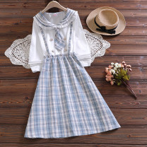 Dress Spring 2021 Light blue (detachable tie) S,M,L,XL,2XL longuette Fake two pieces Long sleeves Sweet Admiral Elastic waist lattice Socket A-line skirt shirt sleeve straps 18-24 years old Type A Splicing 51% (inclusive) - 70% (inclusive) other cotton college