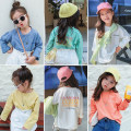 T-shirt Green, blue, yellow, orange Other / other 5 (recommended height 90-100cm), 7 (recommended height 100-105cm), 9 (recommended height 105-110cm), 11 (recommended height 110-115cm), 13 (recommended height 115-125cm) female spring and autumn Long sleeves Crew neck Korean version nothing cotton