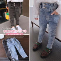 trousers Other / other female Black, blue spring and autumn trousers Korean version There are models in the real shooting Jeans Leather belt middle-waisted Cotton elastic denim Don't open the crotch other Other brands