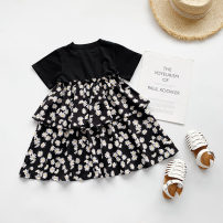 Dress As shown in the picture female Other / other Other 100% summer Korean version Short sleeve Broken flowers cotton Splicing style other 2 years old, 3 years old, 4 years old, 5 years old, 6 years old, 7 years old, 8 years old