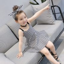 Dress As shown in the picture, the skirt hair belt Other / other female 7 9 11 13 15 Other 100% summer Korean version Skirt / vest lattice cotton A-line skirt F709QZ other