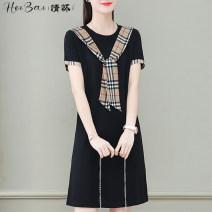 Pocket towel lattice Ordinary dress Korean version other printing Common type (7cm-12cm) blending Black and white feelings Summer 2021 no