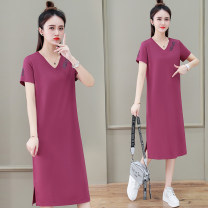 Dress Summer 2021 Dousha lake blue black M L XL 2XL 3XL Mid length dress singleton  Short sleeve commute V-neck High waist letter Socket other routine Others 25-29 years old Black and white feelings Korean version printing HB-689LS 31% (inclusive) - 50% (inclusive) other nylon