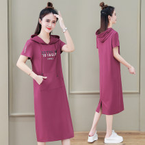 Dress Summer 2021 Light blue bean paste red black M L XL 2XL 3XL Mid length dress singleton  Short sleeve commute Hood High waist letter Socket routine Others 25-29 years old Black and white feelings Korean version Pocket print HB-829HF 31% (inclusive) - 50% (inclusive) other nylon