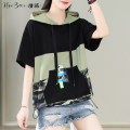 T-shirt black M L XL Summer 2021 Short sleeve Hood easy Regular routine commute cotton 86% (inclusive) -95% (inclusive) 25-29 years old Korean version youth letter Black and white feelings HB-8210BX Printed pocket patch Cotton 93.1% polyurethane elastic fiber (spandex) 6.9%