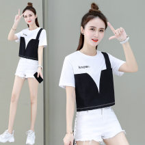 T-shirt Pink purple black grey M L XL Summer 2021 Short sleeve Crew neck easy Regular routine commute cotton 86% (inclusive) -95% (inclusive) 25-29 years old Korean version youth letter Black and white feelings HB-16181WF Print stitching Cotton 93.4% polyurethane elastic fiber (spandex) 6.6%