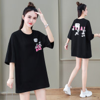 T-shirt Orange white black blue M L Summer 2021 Short sleeve Crew neck easy Regular routine commute cotton 96% and above 25-29 years old Korean version youth letter Black and white feelings HB-2232EW printing Cotton 100% Pure e-commerce (online only)