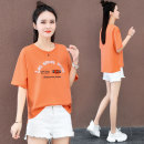 T-shirt Orange white yellow M L XL 2XL Summer 2021 Short sleeve Crew neck easy Regular routine commute cotton 96% and above 25-29 years old Korean version youth letter Black and white feelings HB-223OO printing Cotton 100% Pure e-commerce (online only)