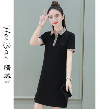 Dress Summer 2021 Camel white black M L XL 2XL 3XL Mid length dress singleton  Short sleeve commute Polo collar High waist lattice Socket other routine Others 25-29 years old Black and white feelings Korean version Splicing HB-B629OO More than 95% cotton Pure e-commerce (online only)