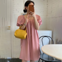 Dress Summer 2021 Black, pink Average size Short skirt singleton  Short sleeve commute square neck High waist Solid color Socket A-line skirt puff sleeve 18-24 years old Type A Korean version Open back, lace up 71% (inclusive) - 80% (inclusive) cotton