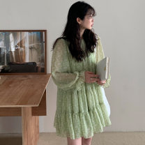 Dress Spring 2021 Green, black S,M,L Short skirt singleton  Long sleeves commute Crew neck Loose waist Broken flowers other Ruffle Skirt pagoda sleeve Others 18-24 years old Type A Other / other Korean version 71% (inclusive) - 80% (inclusive) Chiffon