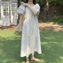 Dress Summer 2021 white Average size Mid length dress singleton  Short sleeve commute High waist Solid color Single breasted A-line skirt puff sleeve 18-24 years old Type A Korean version 71% (inclusive) - 80% (inclusive) cotton