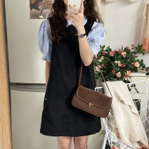 Fashion suit Summer 2021 Average size Blue shirt, black dress 18-25 years old 71% (inclusive) - 80% (inclusive) polyester fiber