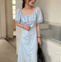 Dress Summer 2021 Sky blue, white, green, yellow Average size Mid length dress singleton  Short sleeve commute square neck High waist Solid color Single breasted A-line skirt puff sleeve 18-24 years old Korean version 71% (inclusive) - 80% (inclusive) cotton