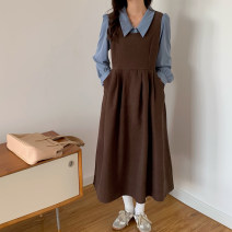 Fashion suit Spring 2021 Average size White shirt, black vest skirt, blue shirt, coffee vest skirt 18-25 years old 71% (inclusive) - 80% (inclusive)