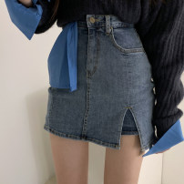 skirt Spring 2021 XS,S,M,L,XL blue Short skirt commute High waist A-line skirt Solid color Type A 18-24 years old More than 95% Denim cotton Hand worn, hand worn Korean version