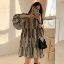 Dress Spring 2021 Graph color Average size Middle-skirt singleton  Long sleeves commute V-neck Loose waist Decor A-line skirt routine 18-24 years old Type A Retro 71% (inclusive) - 80% (inclusive) Chiffon