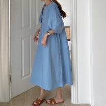 Dress Summer 2021 Apricot, blue Average size Mid length dress singleton  Short sleeve commute Crew neck Loose waist Solid color Big swing puff sleeve 18-24 years old Type A Korean version 71% (inclusive) - 80% (inclusive) cotton