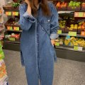 Dress Spring 2021 Denim blue Average size longuette singleton  Long sleeves commute Polo collar Loose waist Solid color Single breasted routine 18-24 years old Other / other Korean version 71% (inclusive) - 80% (inclusive) Denim