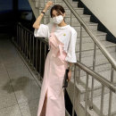 Dress Summer 2021 White, pink Average size Mid length dress singleton  Sleeveless commute High waist Solid color straps 18-24 years old Korean version 71% (inclusive) - 80% (inclusive) Denim cotton