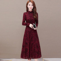 Dress Winter of 2019 Red black red plush black Plush M L XL 2XL 3XL 4XL 5XL Mid length dress singleton  Long sleeves commute Crew neck High waist Solid color Socket A-line skirt routine Others 35-39 years old Type A Comedo Korean version printing 019O*S227 More than 95% Lace polyester fiber