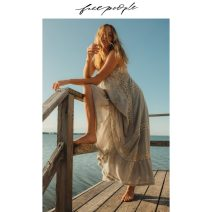Dress Spring 2020 Ivory combination 011 XS S M L XL longuette singleton  Sleeveless Sweet V-neck High waist Solid color Socket Big swing other Hanging neck style 25-29 years old Type X free people Hollow fold More than 95% cotton Cotton 100% Bohemia