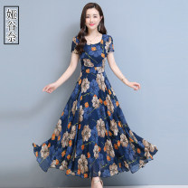 Women's large Summer 2020 Red blue M L XL 2XL 3XL Dress singleton  commute easy moderate Socket Short sleeve Broken flowers Korean version Crew neck Three dimensional cutting routine YGN2020A560C Yagunai 35-39 years old longuette Other 100% Pure e-commerce (online only)