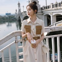 Dress Summer 2021 Beige S M L XL longuette singleton  Short sleeve commute Polo collar High waist Solid color Single breasted A-line skirt routine 18-24 years old Type A Shinos Retro Pocket lace up button contrast More than 95% polyester fiber Polyester 100%