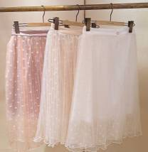 skirt Summer 2017 Average size Lotus color change button apricot color change button off white yarn asymmetric lotus color stain Mid length dress Sweet