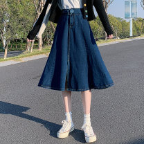 skirt Summer 2021 XS,S,M,L Blue long, blue short (pre sold for about a week) Mid length dress Versatile High waist Denim skirt Solid color Type A 18-24 years old 81% (inclusive) - 90% (inclusive) Denim cotton Folds, pockets, rags, buttons, zippers 401g / m ^ 2 (inclusive) - 500g / m ^ 2 (inclusive)