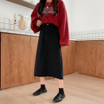 skirt Summer 2021 XXS,XS,S Black [length 71], black [length 65] longuette commute High waist A-line skirt Solid color Type A 18-24 years old 71% (inclusive) - 80% (inclusive) Denim cotton pocket Korean version 401g / m ^ 2 (inclusive) - 500g / m ^ 2 (inclusive)